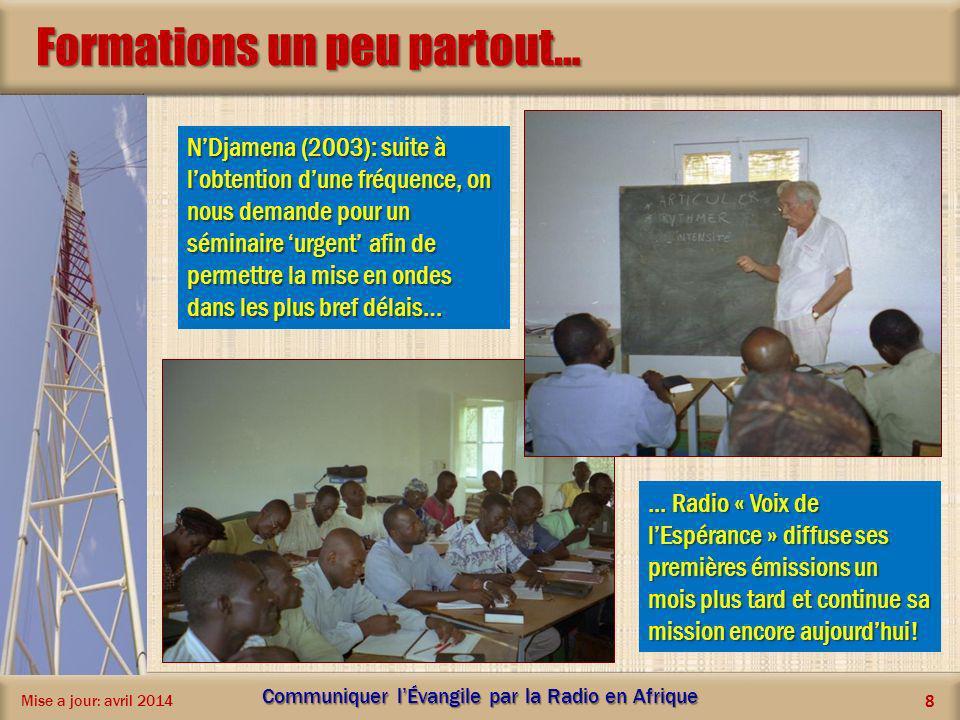 Formations un peu partout… Mise a jour: avril 2014 Communiquer lÉvangile par la Radio en Afrique 8 NDjamena (2003): suite à lobtention dune fréquence,