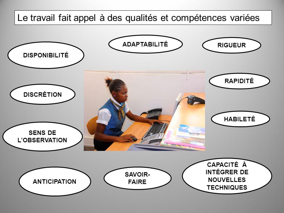Le travail fait appel à des qualités et compétences variées DISPONIBILITÉ DISCRÉTION SENS DE LOBSERVATION ANTICIPATION ADAPTABILITÉ RIGUEUR SAVOIR- FA
