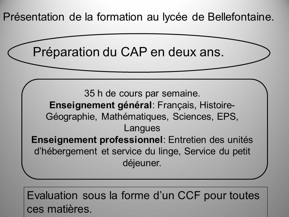 Présentation de la formation au lycée de Bellefontaine. Préparation du CAP en deux ans. 35 h de cours par semaine. Enseignement général: Français, His