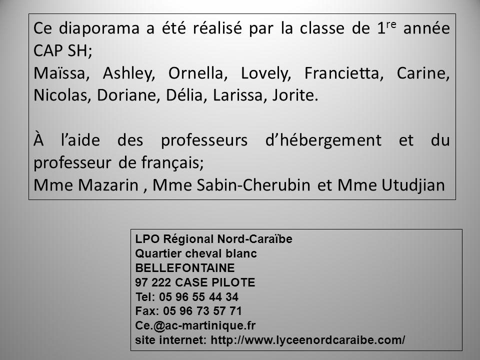 Ce diaporama a été réalisé par la classe de 1 re année CAP SH; Maïssa, Ashley, Ornella, Lovely, Francietta, Carine, Nicolas, Doriane, Délia, Larissa,