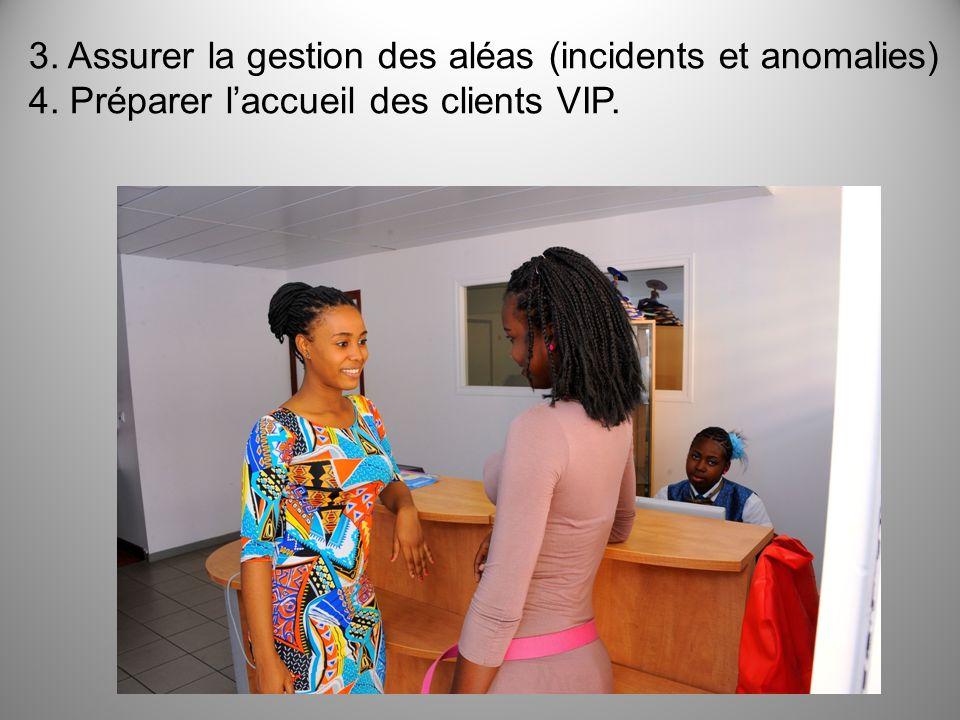 3. Assurer la gestion des aléas (incidents et anomalies) 4. Préparer laccueil des clients VIP.