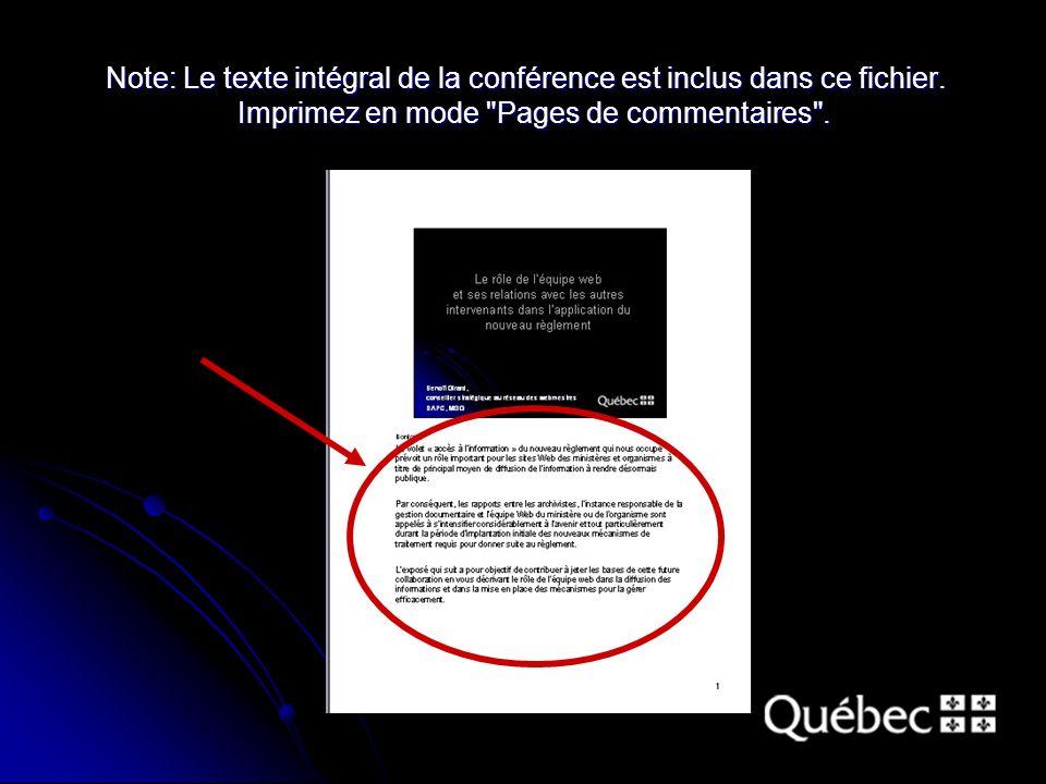 Note: Le texte intégral de la conférence est inclus dans ce fichier.