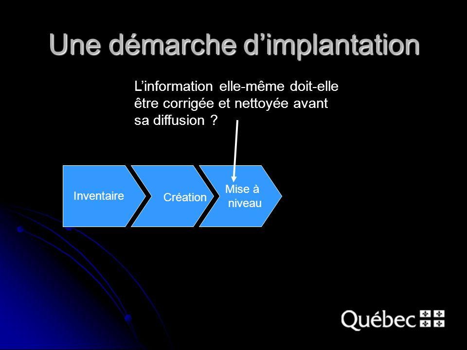 Une démarche dimplantation Linformation elle-même doit-elle être corrigée et nettoyée avant sa diffusion .