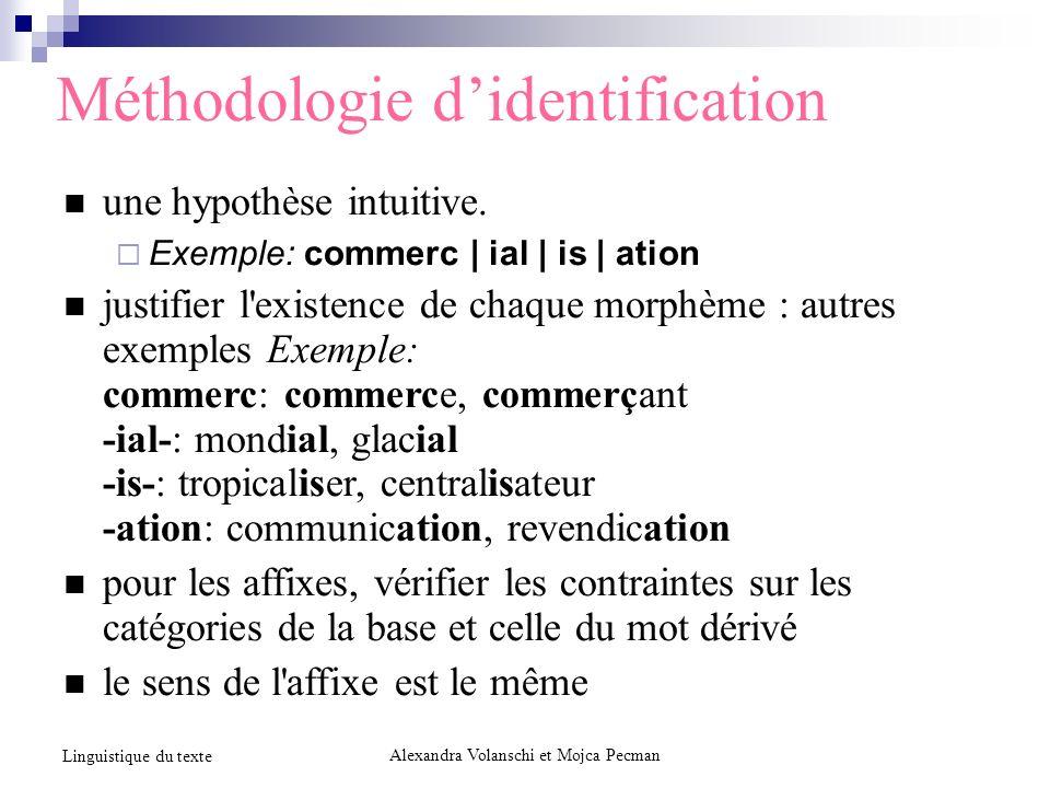 Méthodologie didentification une hypothèse intuitive.