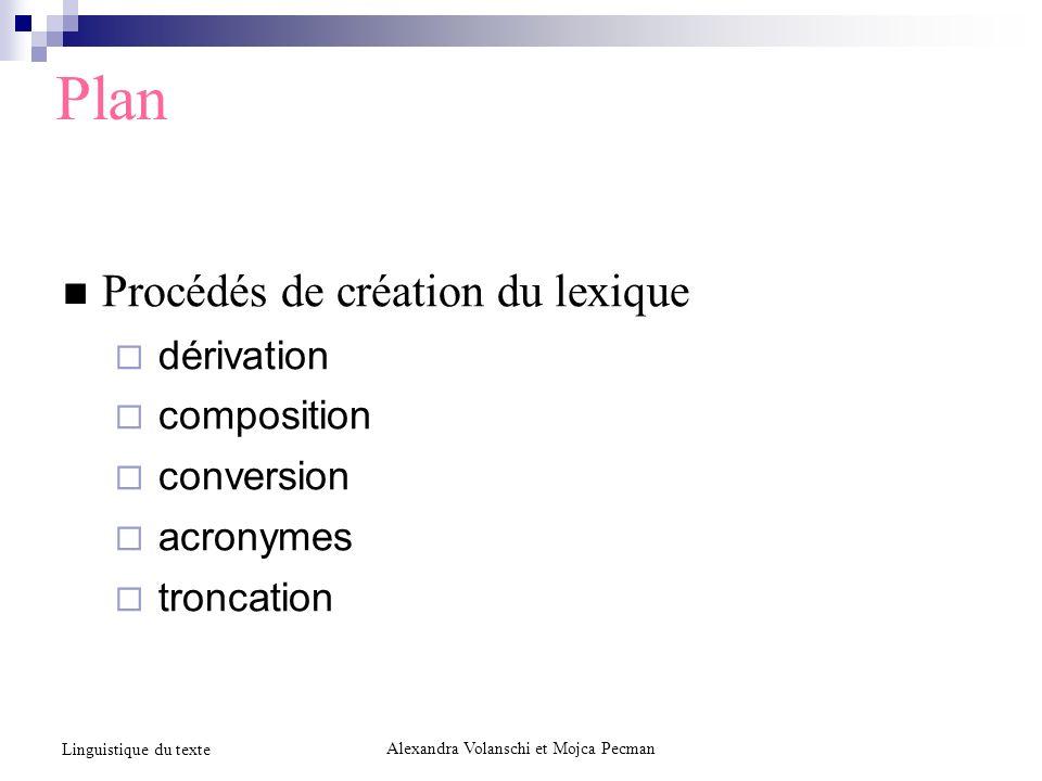Plan Procédés de création du lexique dérivation composition conversion acronymes troncation Alexandra Volanschi et Mojca Pecman Linguistique du texte