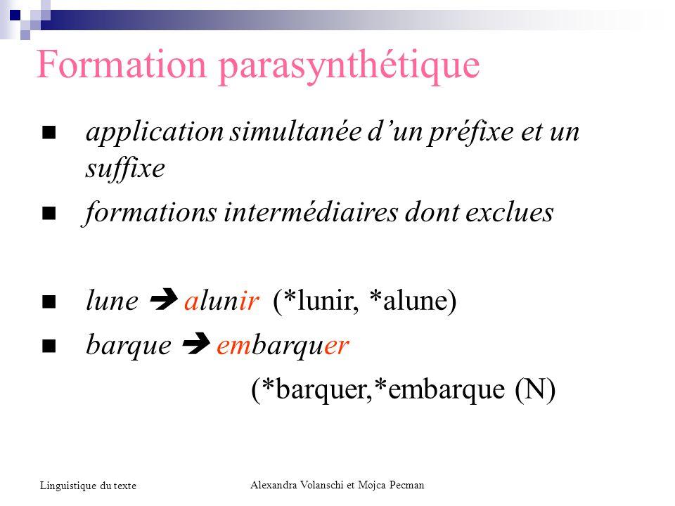 Formation parasynthétique application simultanée dun préfixe et un suffixe formations intermédiaires dont exclues lune alunir (*lunir, *alune) barque