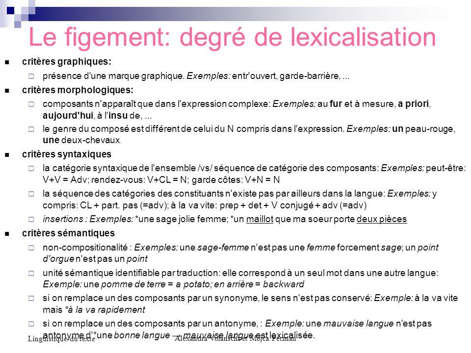 Le figement: degré de lexicalisation critères graphiques: présence d'une marque graphique. Exemples: entr'ouvert, garde-barrière,... critères morpholo