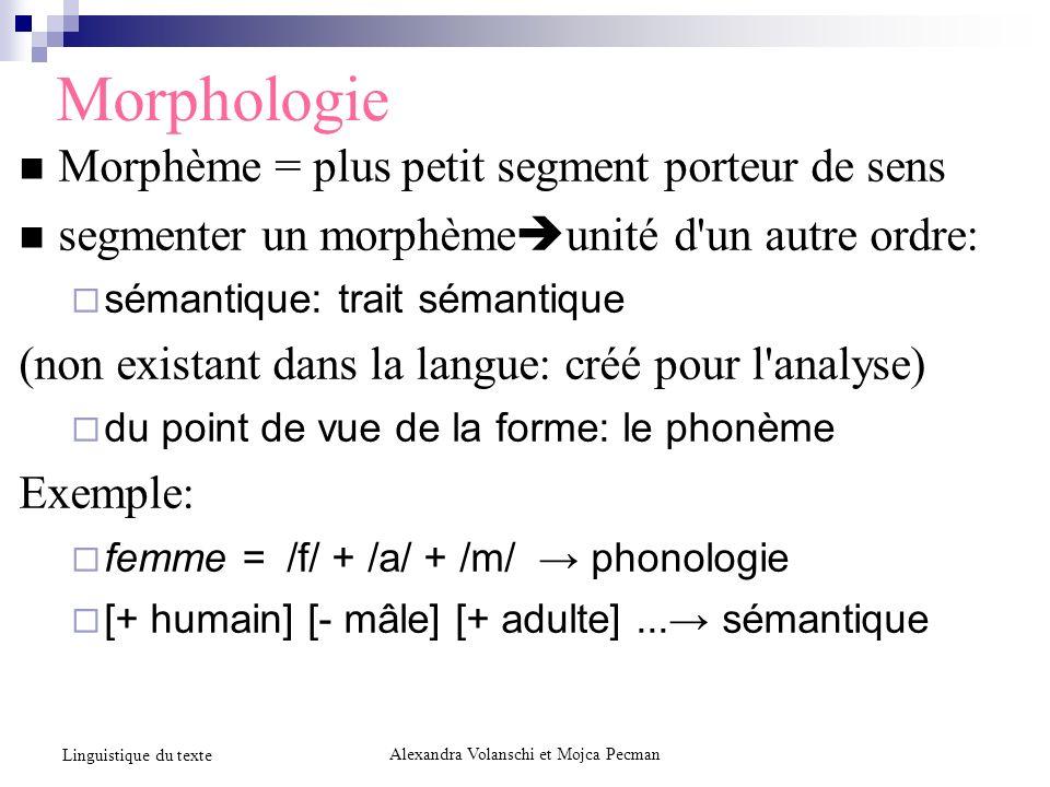 Morphologie Morphème = plus petit segment porteur de sens segmenter un morphème unité d'un autre ordre: sémantique: trait sémantique (non existant dan