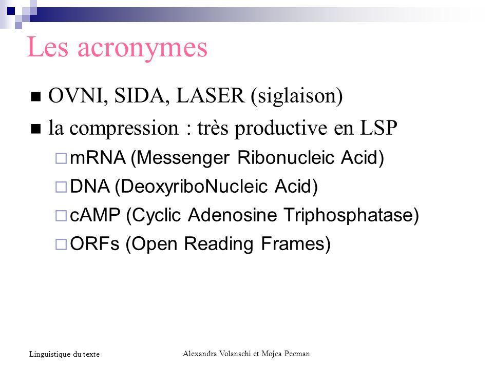 Les acronymes OVNI, SIDA, LASER (siglaison) la compression : très productive en LSP mRNA (Messenger Ribonucleic Acid) DNA (DeoxyriboNucleic Acid) cAMP