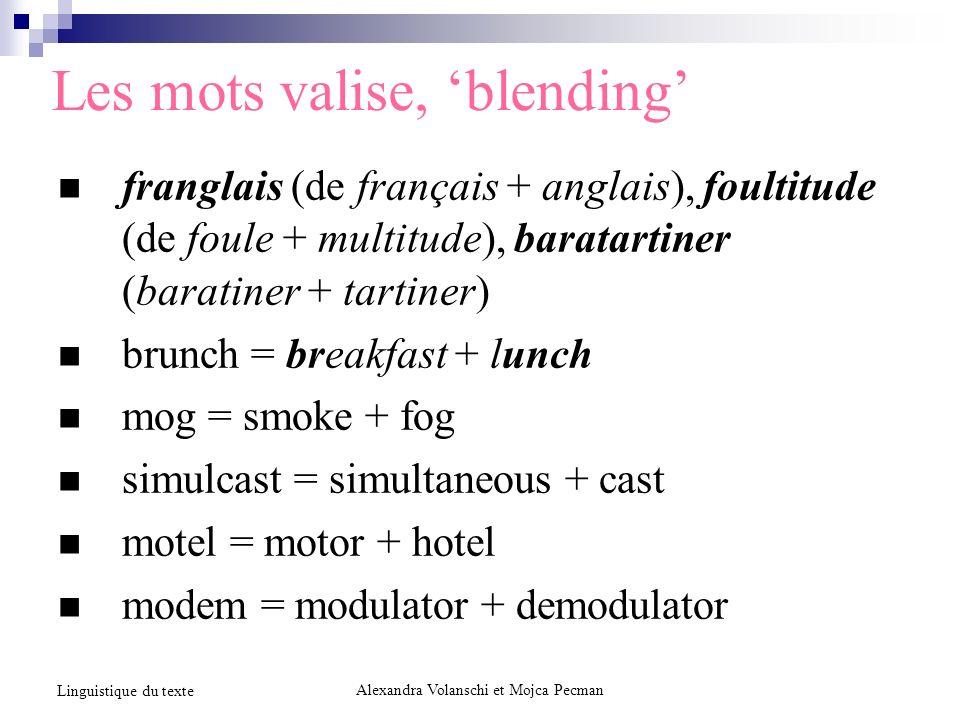 Les mots valise, blending franglais (de français + anglais), foultitude (de foule + multitude), baratartiner (baratiner + tartiner) brunch = breakfast
