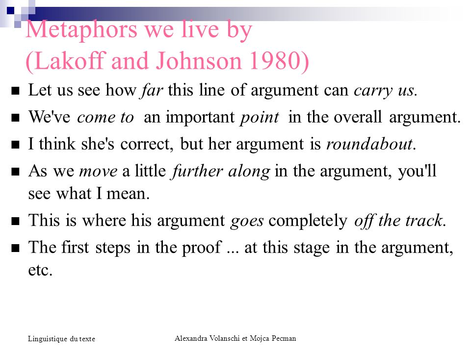 Metaphors we live by (Lakoff and Johnson 1980) Let us see how far this line of argument can carry us.