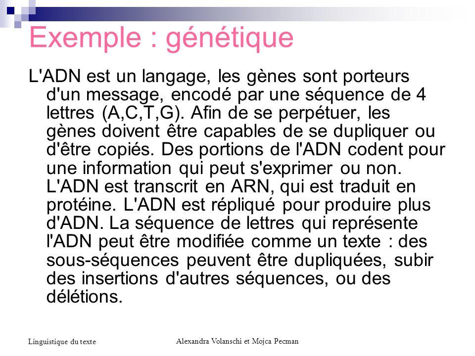 Exemple : génétique L'ADN est un langage, les gènes sont porteurs d'un message, encodé par une séquence de 4 lettres (A,C,T,G). Afin de se perpétuer,