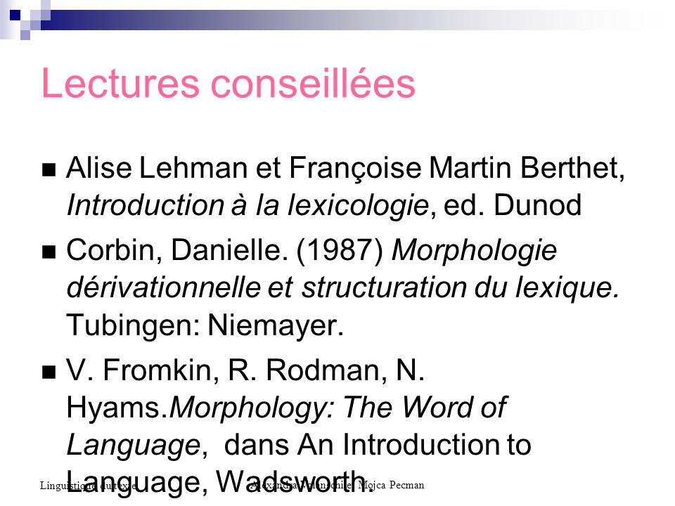 Lectures conseillées Alise Lehman et Françoise Martin Berthet, Introduction à la lexicologie, ed. Dunod Corbin, Danielle. (1987) Morphologie dérivatio