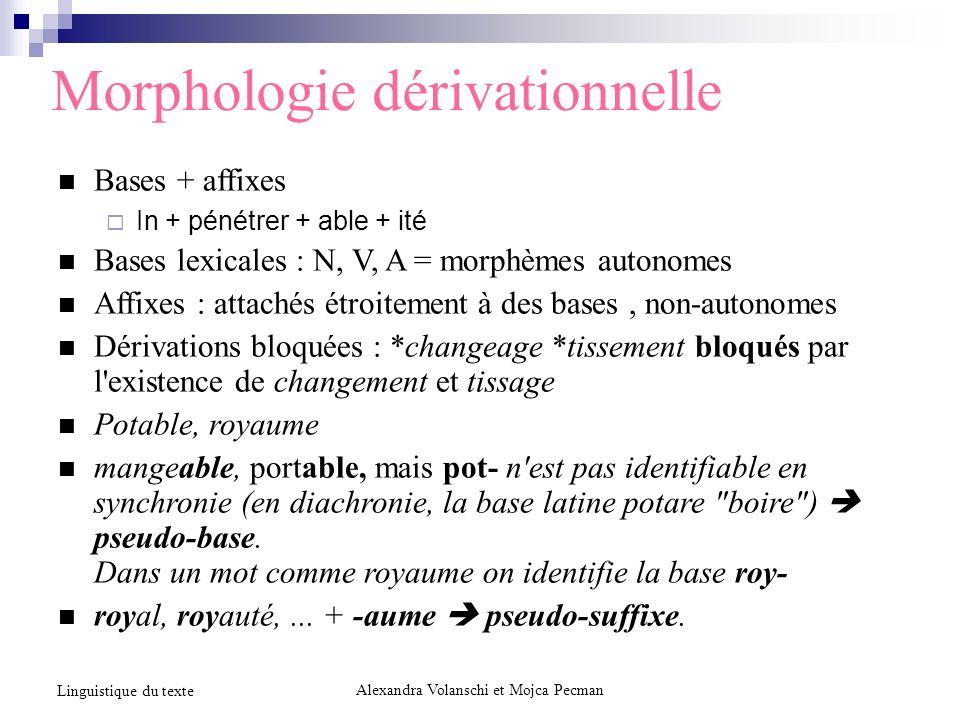 Morphologie dérivationnelle Bases + affixes In + pénétrer + able + ité Bases lexicales : N, V, A = morphèmes autonomes Affixes : attachés étroitement