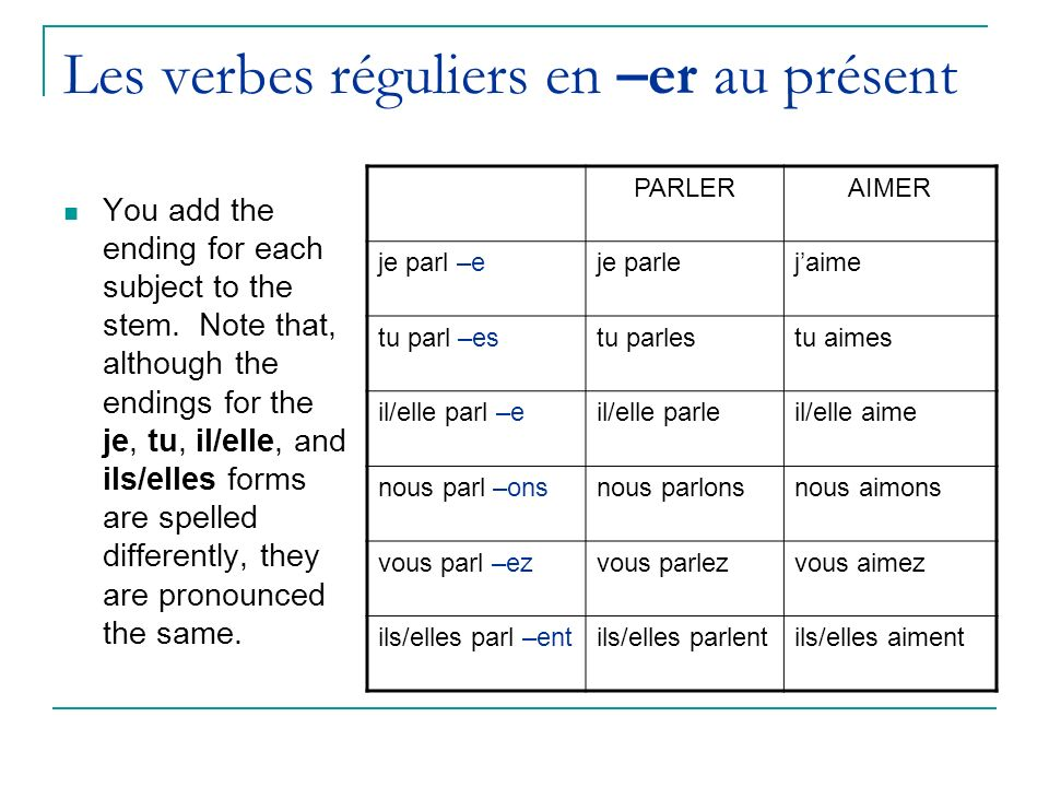 Les verbes réguliers en –er au présent You add the ending for each subject to the stem. Note that, although the endings for the je, tu, il/elle, and i