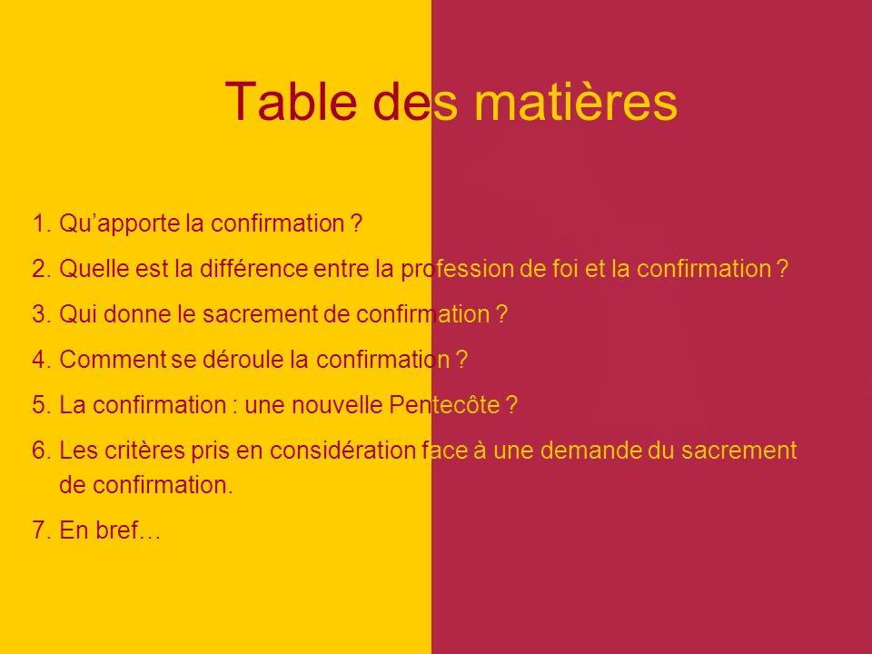 Table des matières 1. Quapporte la confirmation ? 2. Quelle est la différence entre la profession de foi et la confirmation ? 3. Qui donne le sacremen