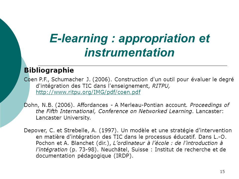 15 Bibliographie Coen P.F., Schumacher J.(2006).