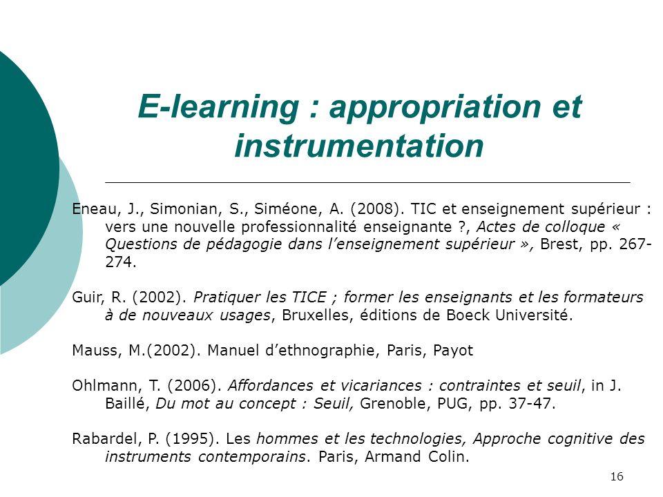 16 Eneau, J., Simonian, S., Siméone, A.(2008).