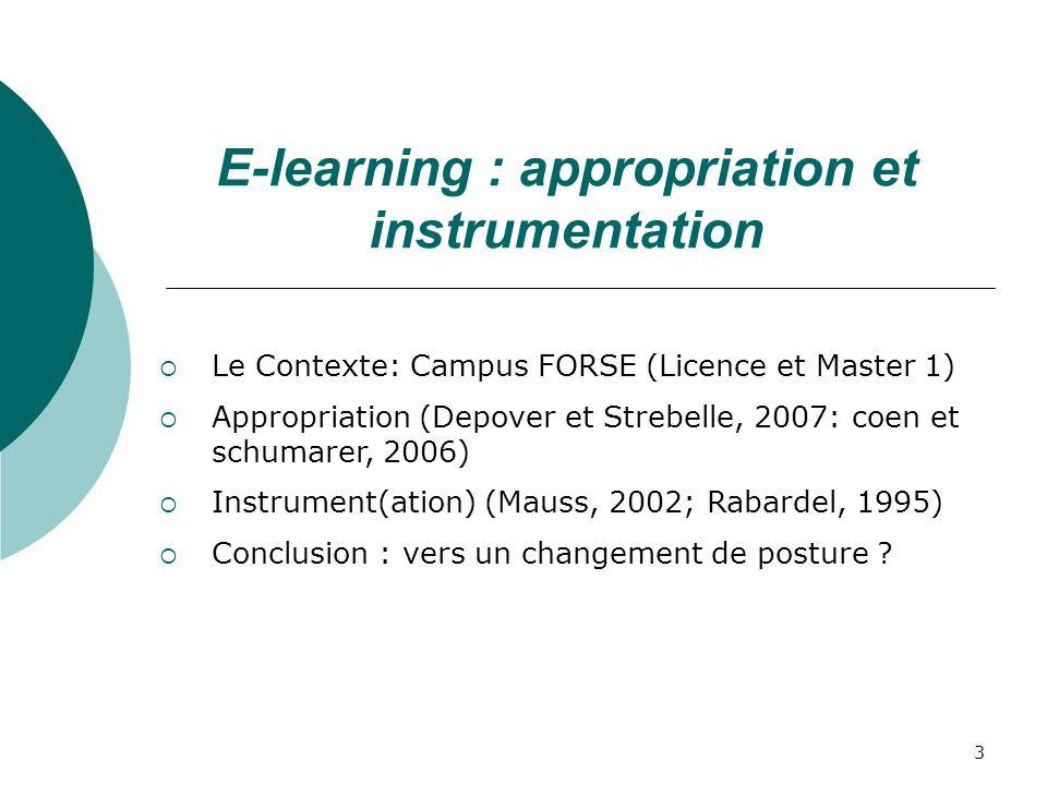 3 Le Contexte: Campus FORSE (Licence et Master 1) Appropriation (Depover et Strebelle, 2007: coen et schumarer, 2006) Instrument(ation) (Mauss, 2002; Rabardel, 1995) Conclusion : vers un changement de posture .