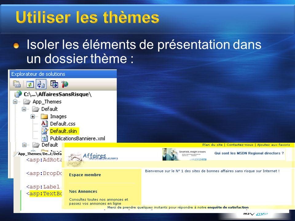 Utiliser les thèmes Isoler les éléments de présentation dans un dossier thème :