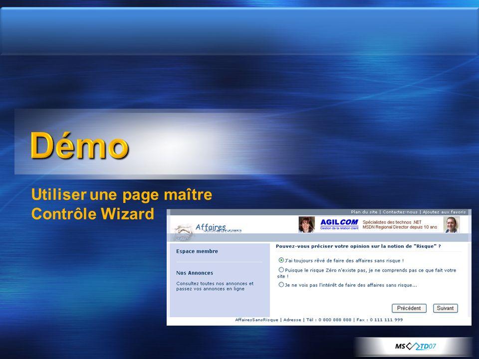 Utiliser une page maître Contrôle Wizard