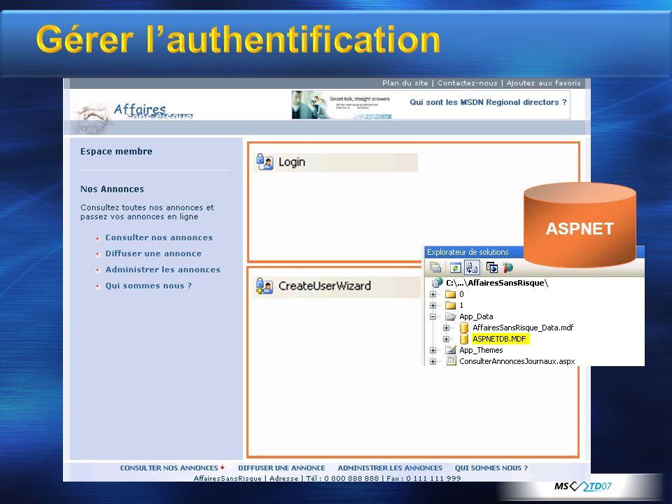 Gérer lauthentification ASPNET