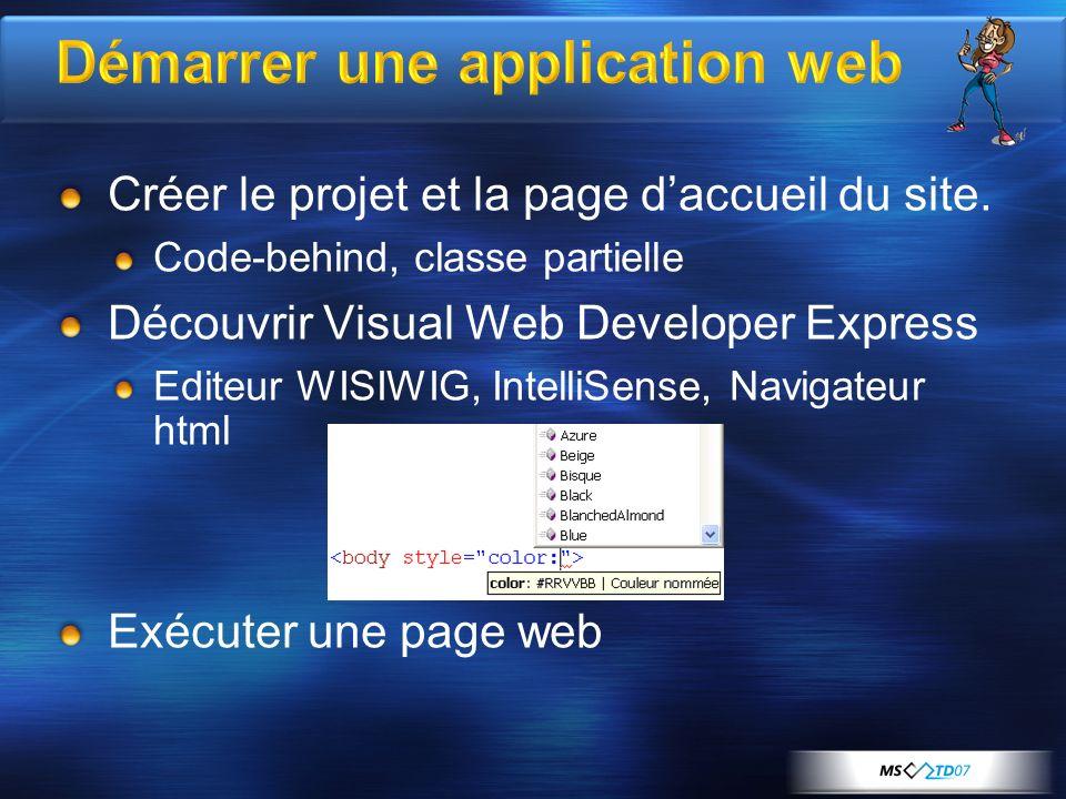 Démarrer une application web Créer le projet et la page daccueil du site.