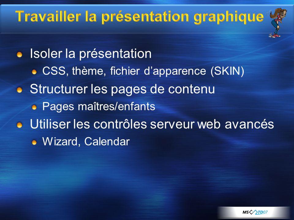 Travailler la présentation graphique Isoler la présentation CSS, thème, fichier dapparence (SKIN) Structurer les pages de contenu Pages maîtres/enfants Utiliser les contrôles serveur web avancés Wizard, Calendar