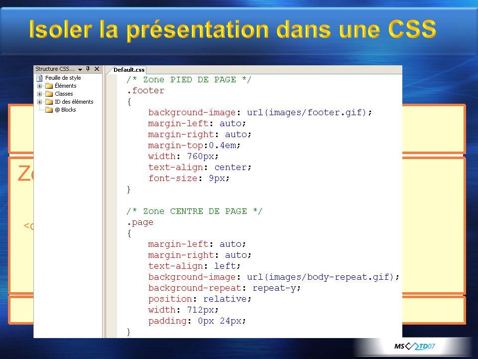 Fragmenter la page Isoler la présentation dans une CSS Zone de menu Zone de contenu Pied de page En-tête