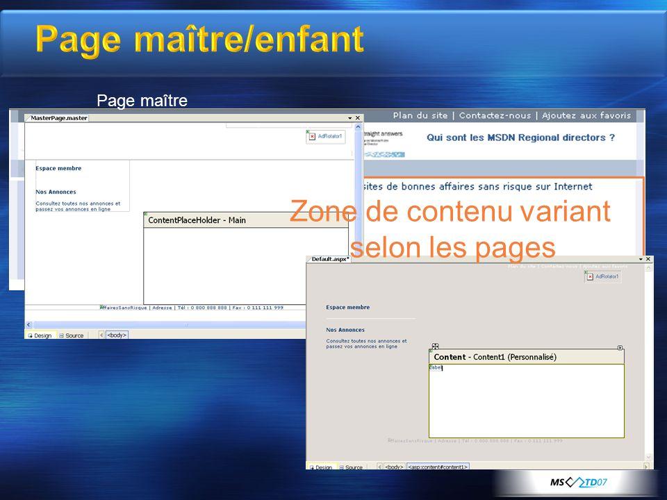 Page maître/enfant Page maître Page de contenu enfant Zone de contenu variant selon les pages