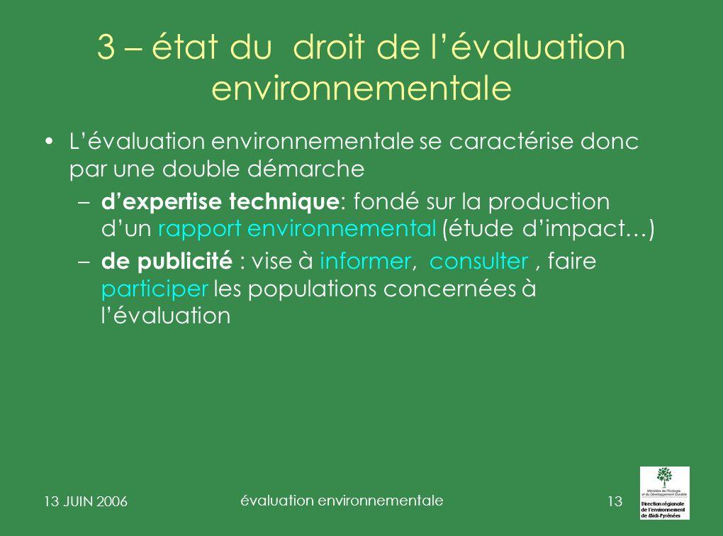 13 JUIN 2006 évaluation environnementale 14 2 - De lévaluation des projets à lévaluation des plans et programmes de lEIPE à l EIPPE