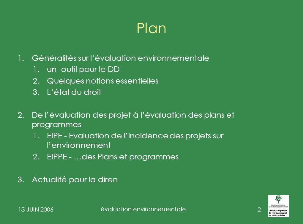 13 JUIN 2006 évaluation environnementale 3 Généralités sur lévaluation environnementale