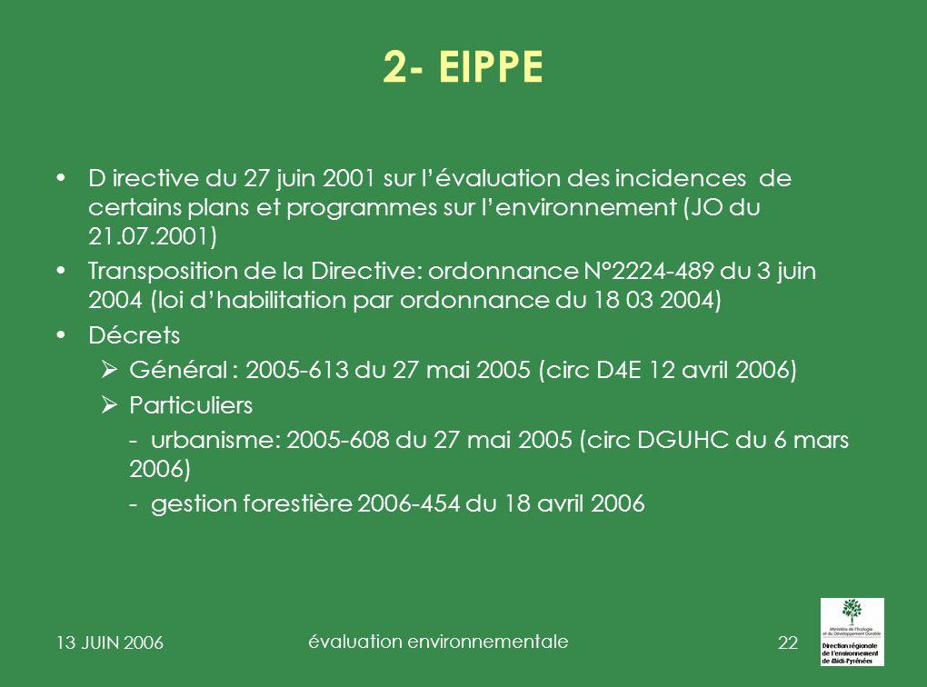 13 JUIN 2006 évaluation environnementale 23 EIPPE : certains plans et programmes sectoriels ne sont pas dans la directive ZAC : une étude dimpact est requise Les documents durbanisme (rapport environnemental): depuis la transposition directive EIPPE, les PLU en général ( sauf certains PLU qui sont soumis à évaluation environnementale R123-2-1) ainsi que les Cartes communales Les zones spéciales de recherches (mines)