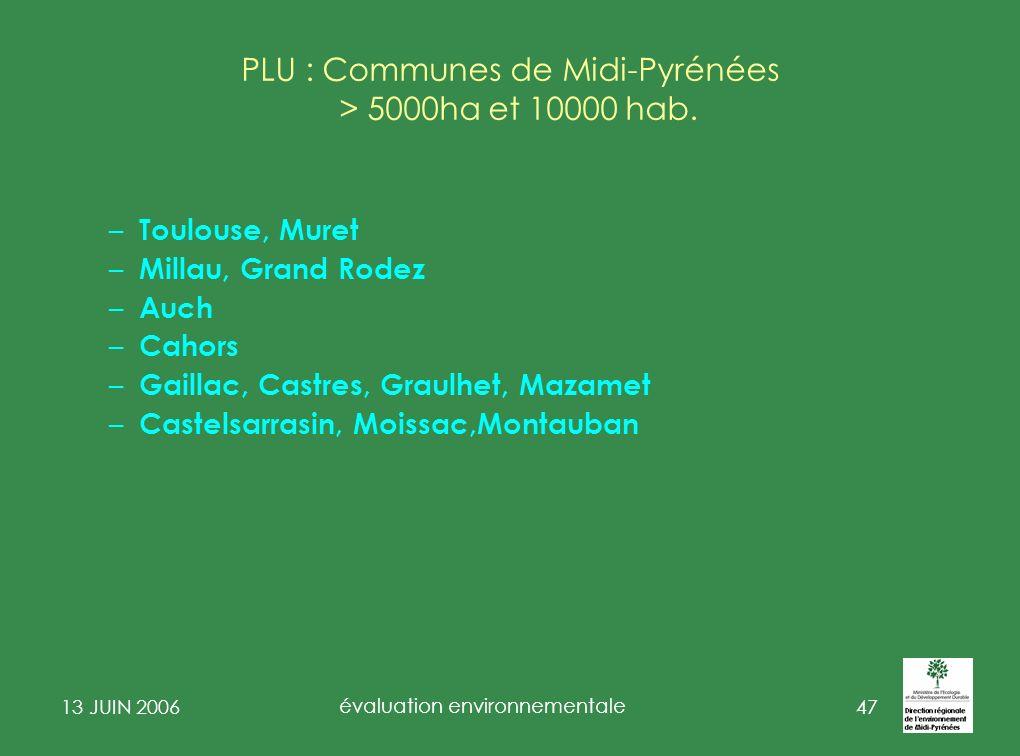 13 JUIN 2006 évaluation environnementale 48 PLU et Natura 2000 Etat initial évalue incidences sur site(s) N 2000 Evaluation Environnementale Stratégique Rapport de présentation (art.