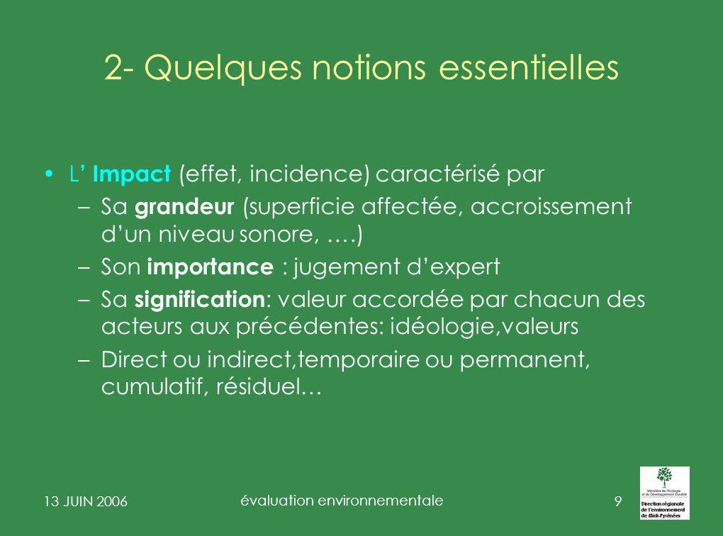 13 JUIN 2006 évaluation environnementale 10 3- état du droit de lévaluation environnementale Un cadre constitutionnel fort : –Traité CE: art6 fixe un objectif dintégration de lenvironnement dans les politiques et actions de lUE.