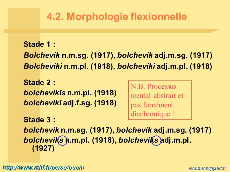 http://www.atilf.fr eva.buchi@atilf.fr http://www.atilf.fr/perso/buchi 4.2. Morphologie flexionnelle Stade 1 : Bolchevik n.m.sg. (1917), bolchevik adj