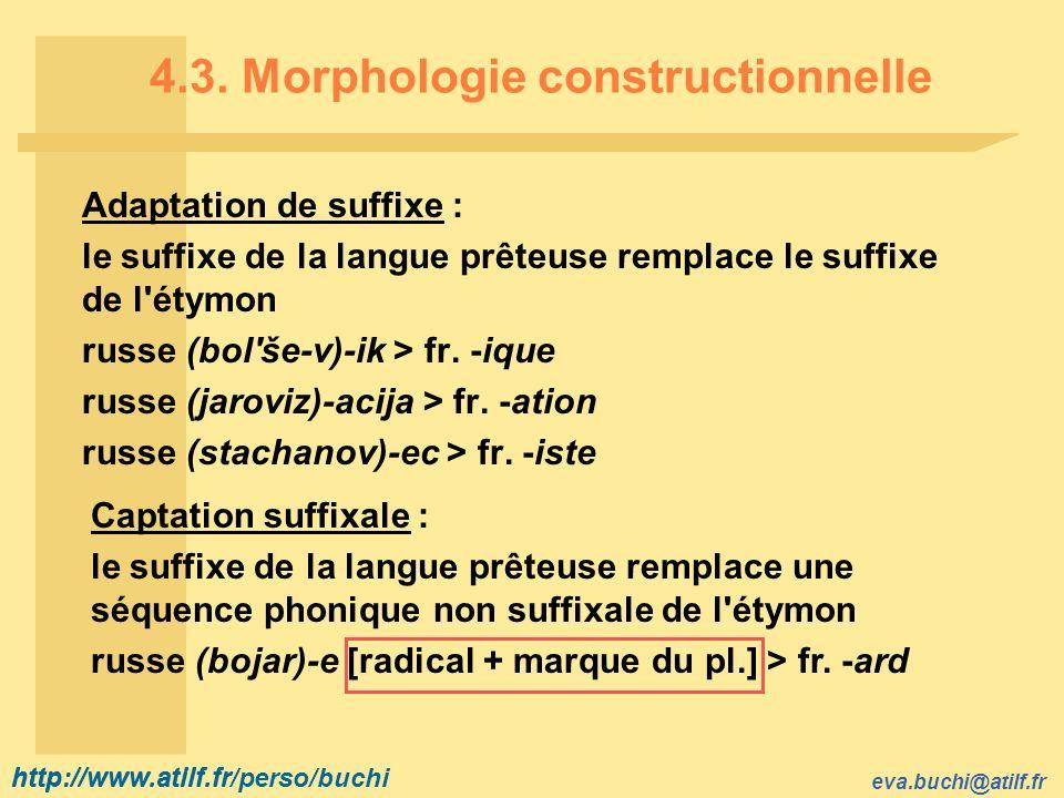 http://www.atilf.fr eva.buchi@atilf.fr http://www.atilf.fr/perso/buchi 4.3. Morphologie constructionnelle Adaptation de suffixe : le suffixe de la lan