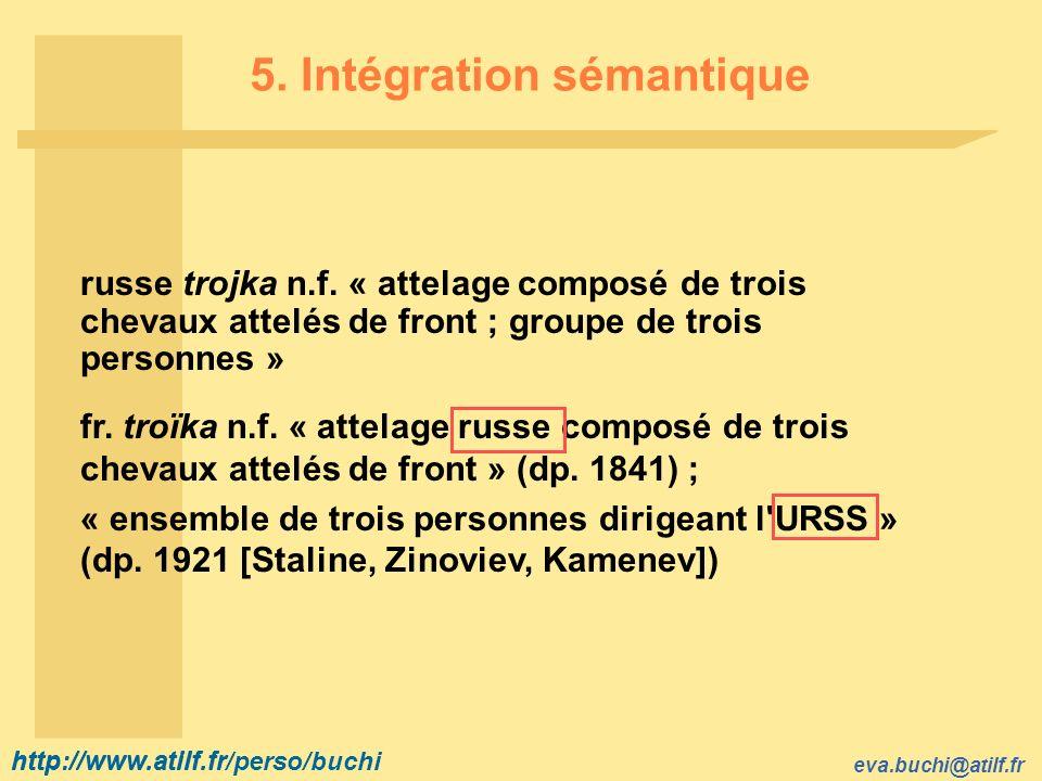 http://www.atilf.fr eva.buchi@atilf.fr http://www.atilf.fr/perso/buchi 5. Intégration sémantique russe trojka n.f. « attelage composé de trois chevaux