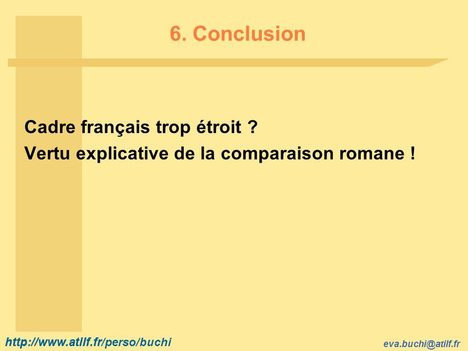 http://www.atilf.fr eva.buchi@atilf.fr http://www.atilf.fr/perso/buchi 6. Conclusion Cadre français trop étroit ? Vertu explicative de la comparaison