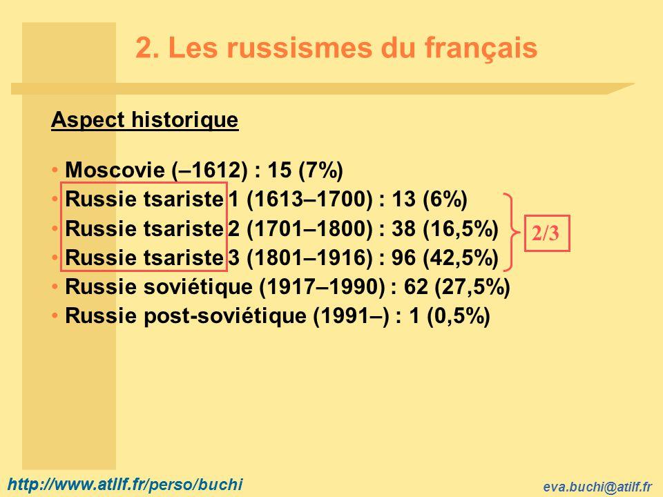 http://www.atilf.fr eva.buchi@atilf.fr http://www.atilf.fr/perso/buchi 2. Les russismes du français Aspect historique Moscovie (–1612) : 15 (7%) Russi