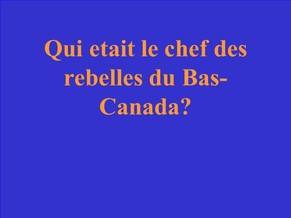 Qui etait le chef des rebelles du Bas- Canada?