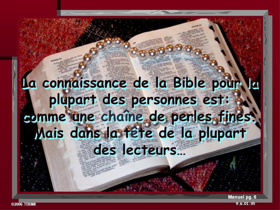 ©2006 TBBMI 9.6.01. La connaissance de la Bible pour la plupart des personnes est: comme une chaîne de perles fines. Mais dans la tête de la plupart d