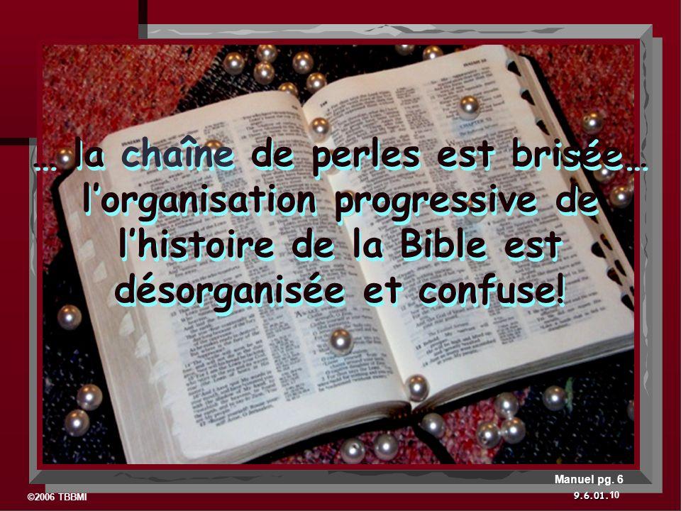 ©2006 TBBMI 9.6.01. … la chaîne de perles est brisée… lorganisation progressive de lhistoire de la Bible est désorganisée et confuse! 10 Manuel pg. 6