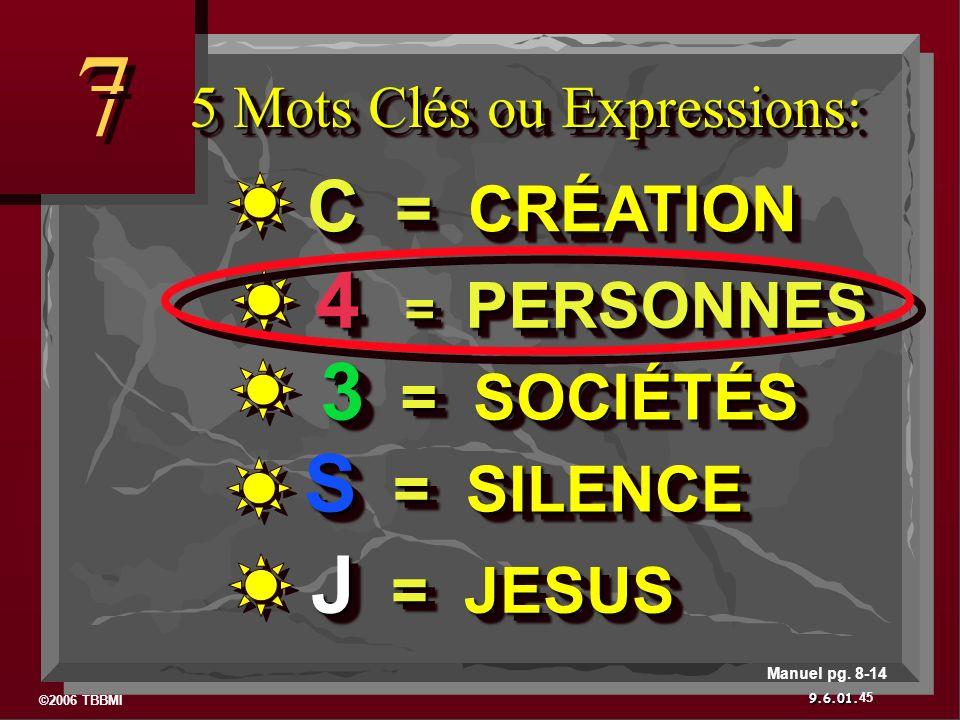 ©2006 TBBMI 9.6.01. 5 Mots Clés ou Expressions: 7 7 45 Manuel pg. 8-14 J = JESUS S = SILENCE 3 = SOCIÉTÉS 4 = PERSONNES 4 = PERSONNES C = CRÉATION
