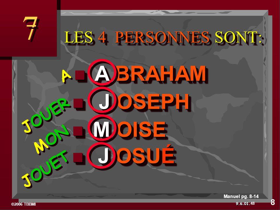 ©2006 TBBMI 9.6.01. J OSUÉ J OSUÉ M OISE M OISE J OSEPH J OSEPH A BRAHAM A BRAHAM LES 4 PERSONNES SONT: LES 4 PERSONNES SONT: 7 7 JOUET MON JOUER A A