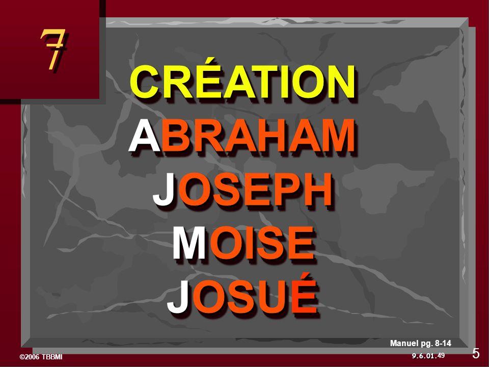 ©2006 TBBMI 9.6.01. 7 7 CRÉATION ABRAHAM JOSEPH MOISE JOSUÉ CRÉATION ABRAHAM JOSEPH MOISE JOSUÉ 49 5 Manuel pg. 8-14