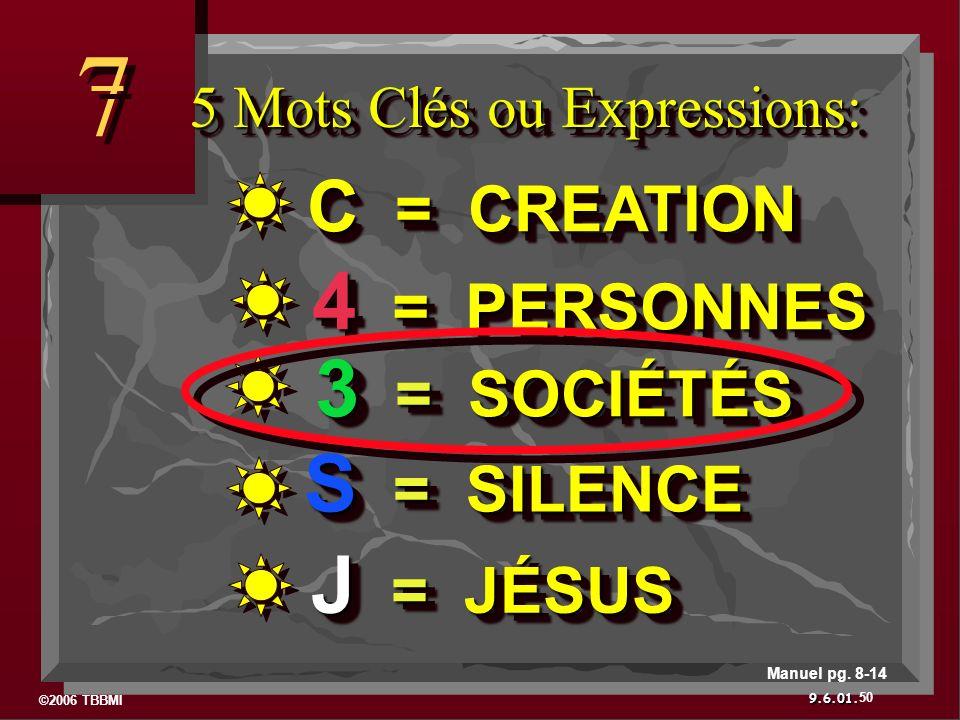 ©2006 TBBMI 9.6.01. 5 Mots Clés ou Expressions: 7 7 50 Manuel pg. 8-14 J = JÉSUS S = SILENCE 3 = SOCIÉTÉS 4 = PERSONNES C = CREATION