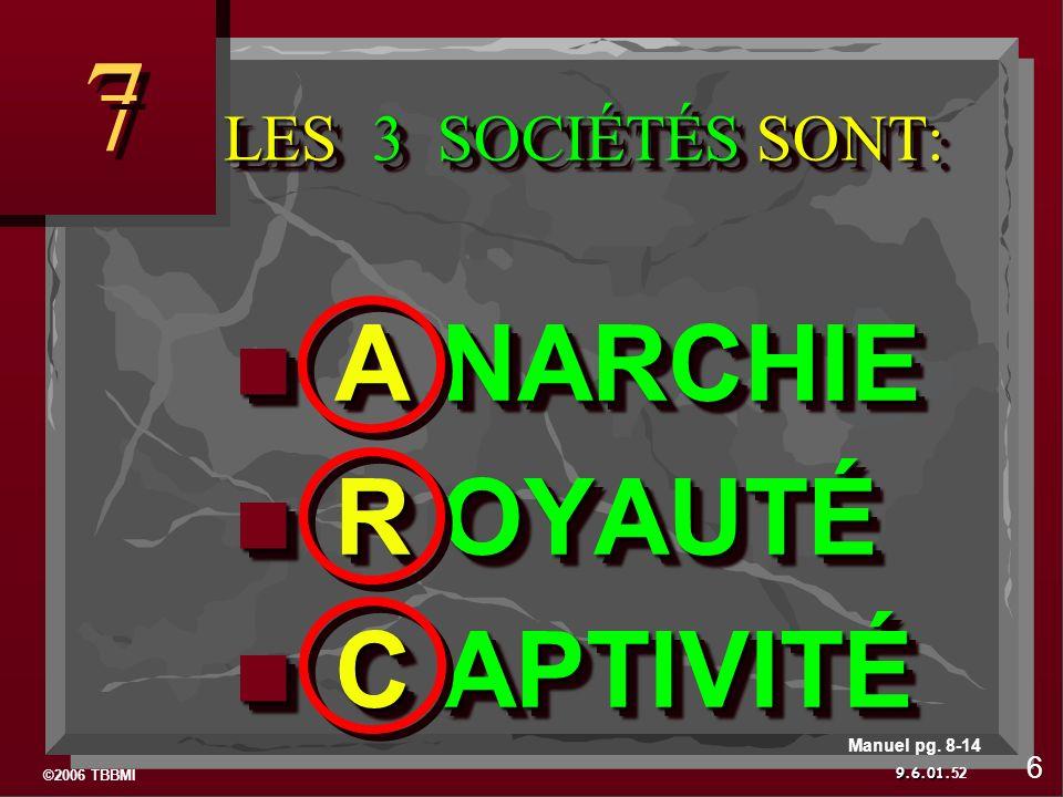©2006 TBBMI 9.6.01. LES 3 SOCIÉTÉS SONT: LES 3 SOCIÉTÉS SONT: 7 7 52 6 Manuel pg.