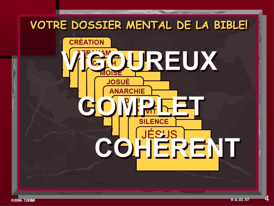 ©2006 TBBMI 9.6.01. 67 VOTRE DOSSIER MENTAL DE LA BIBLE .