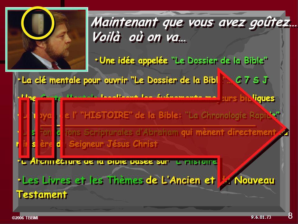 ©2006 TBBMI 9.6.01. Maintenant que vous avez goûtez… Voilà où on va… Une idée appelée Le Dossier de la Bible La clé mentale pour ouvrir Le Dossier de